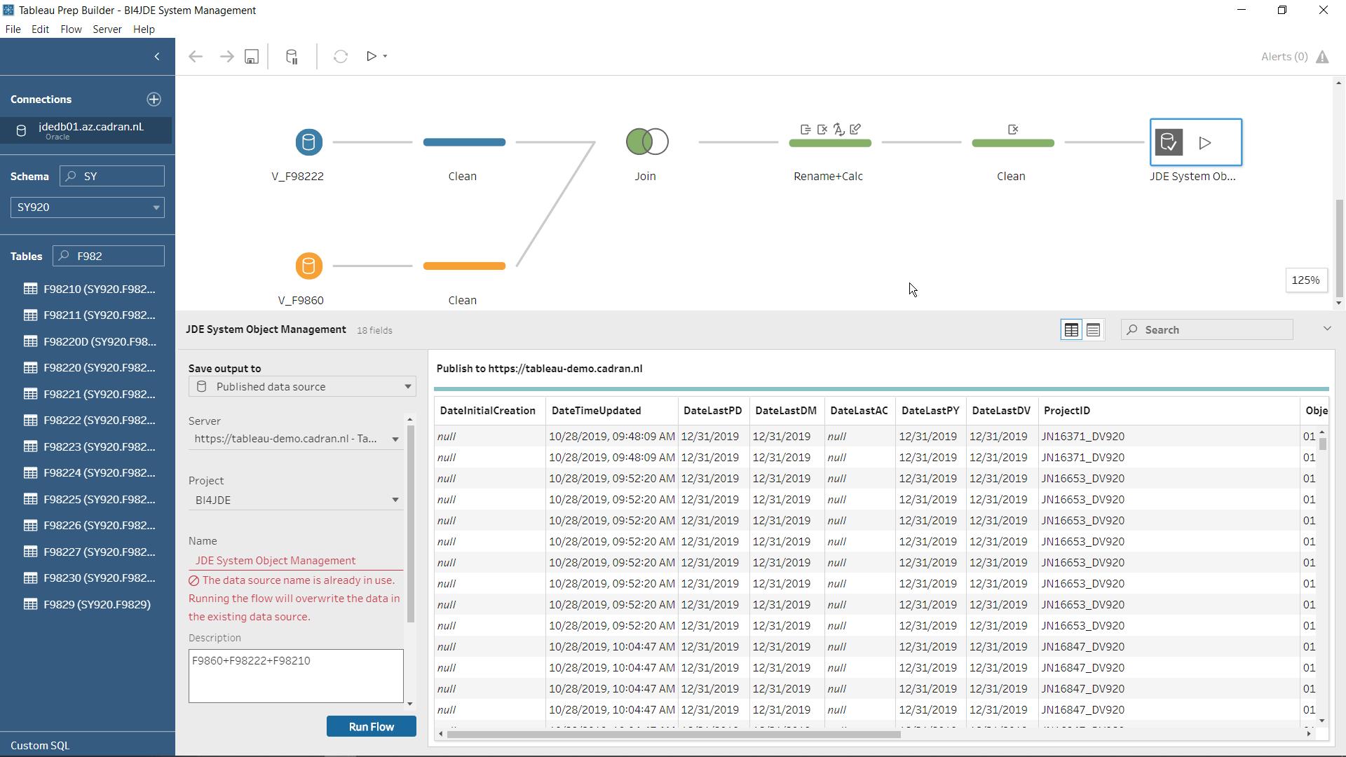 tableau jd edwards Object Management Workbench